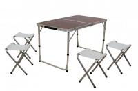 Стол  складной с отверстием для зонта + 4 стульчика из ПВХ